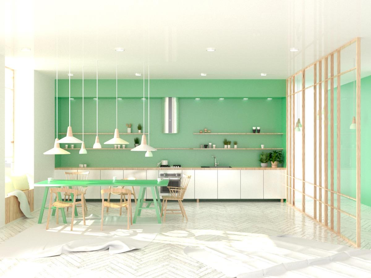 33个清新绿色的厨房设计欣赏