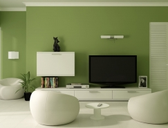 30个漂亮的绿色系客厅设计