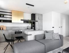 时尚的金属铜色点缀的灰色住宅装修设计