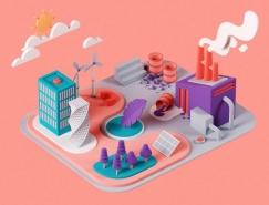 Nuria Madrid能源和环境主题3D插画皇冠新2网