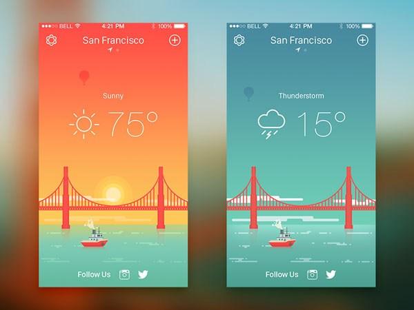 30款扁平化天气APP UI设计欣赏