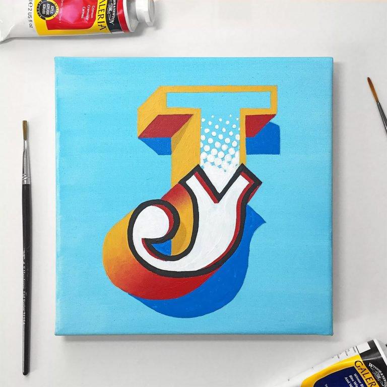 James Lewis手绘3D字体作品