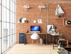 33個工業風格的家庭辦公室設計