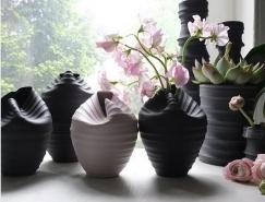 形似柔軟彎曲的瓷器花瓶設計
