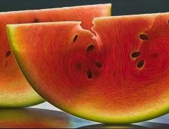通透的水果切片之美:Dennis Wojtkiewicz超逼真水果油画作品