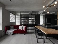 开放式空间的酷黑公寓澳门金沙网址