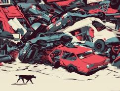 Nicolas Dehghani充满现代感与未来科技感的插画作