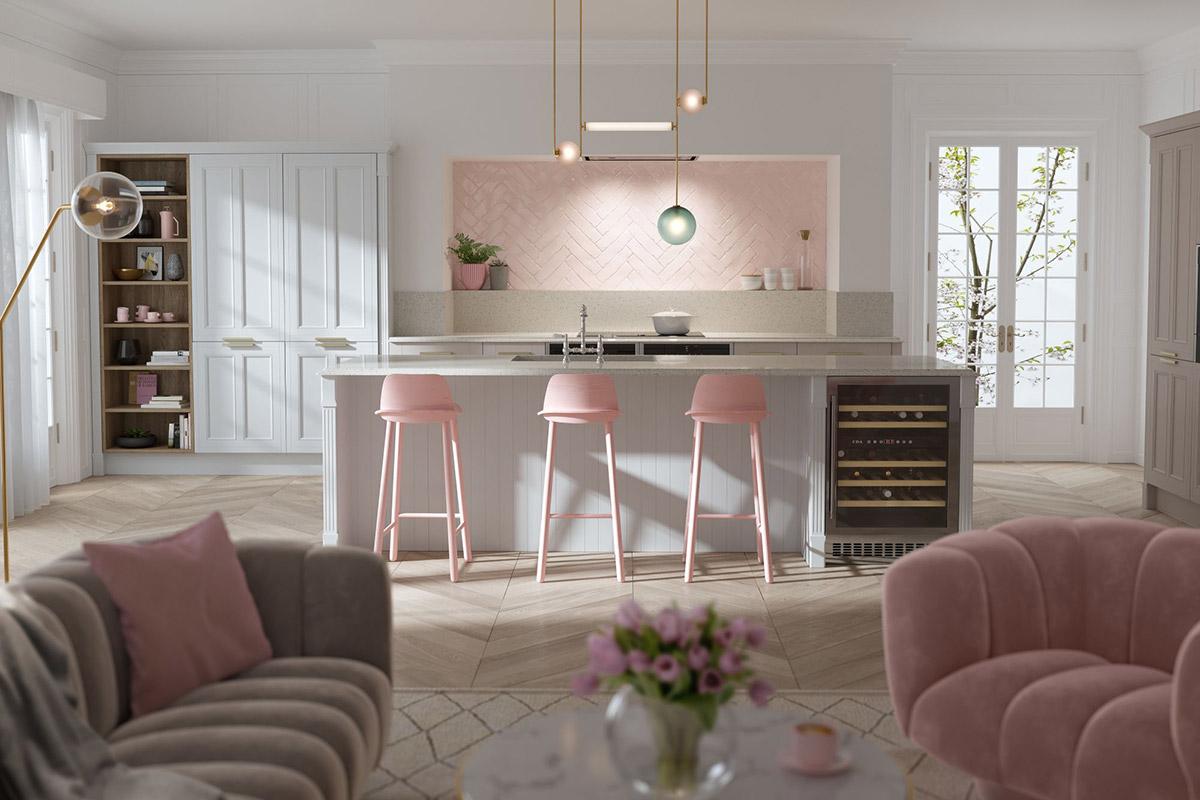 50个浪漫粉色厨房设计