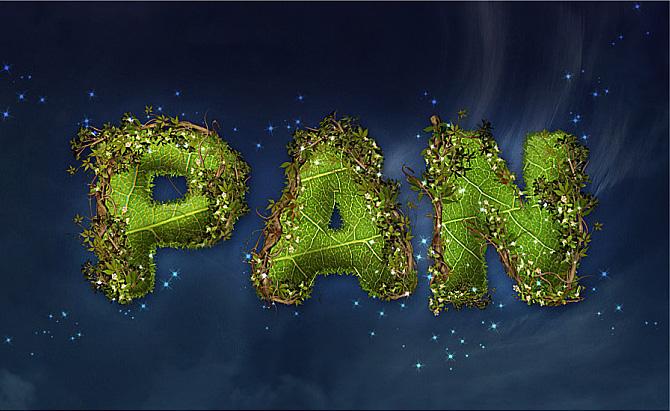 Photoshop制作爬满藤蔓的树叶字
