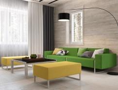 黄色和绿色搭配的莫斯科简约住宅装修设计