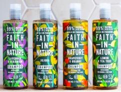 手繪插畫風格的Faith in Nature洗發水包裝設計