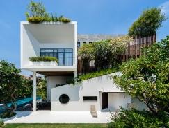 郁郁葱葱的绿色花园:越南时尚现代别墅设计
