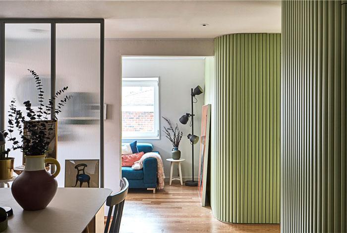 绿色曲面墙:充满活力和生机的韩国现代公寓设计