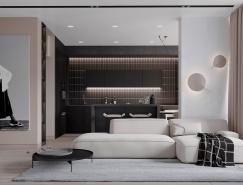 黑白和米色打造的时尚公寓