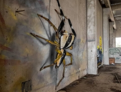 葡萄牙街头艺术家Odeith的立体昆虫涂鸦