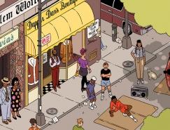 大量细节营造的城市场景插画作品
