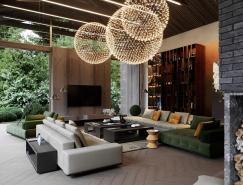 绿色环绕的高端奢华的现代豪宅澳门金沙网址