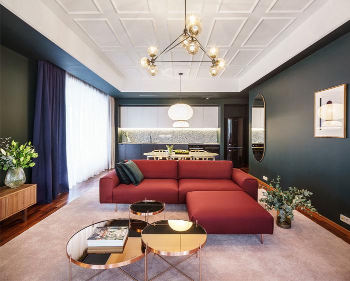 大胆的色彩和简洁北欧风格的现代公寓设计