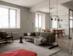 北欧极简风的65平米白色公寓设计