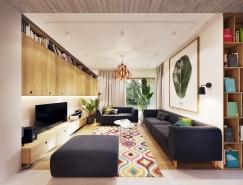 绿色点缀的温馨现代公寓设计