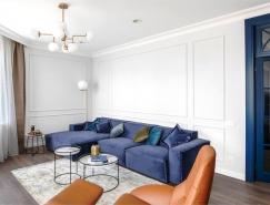 浪漫时尚精致的蓝色公寓设计