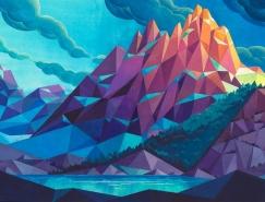Laura Bifano多边形风格山水景观插画设计