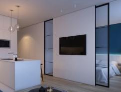 蓝色装饰元素的2个现代住宅装修设计
