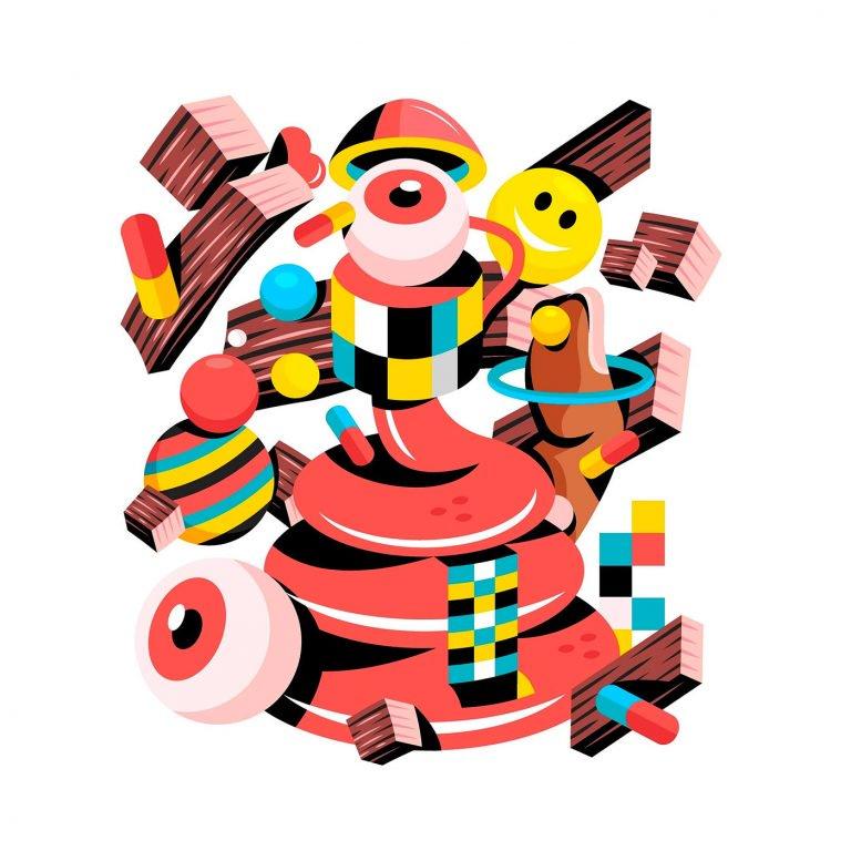 David Oku抽象风格的字母插画设计