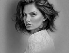 Musa Çelik照片品质的黑白和彩色肖像铅笔画