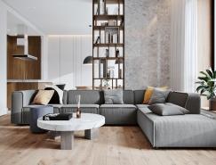 开放式起居空间的110平米现代住宅装修设计
