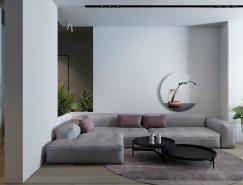 精致而低调的暗粉风格公寓装修设计