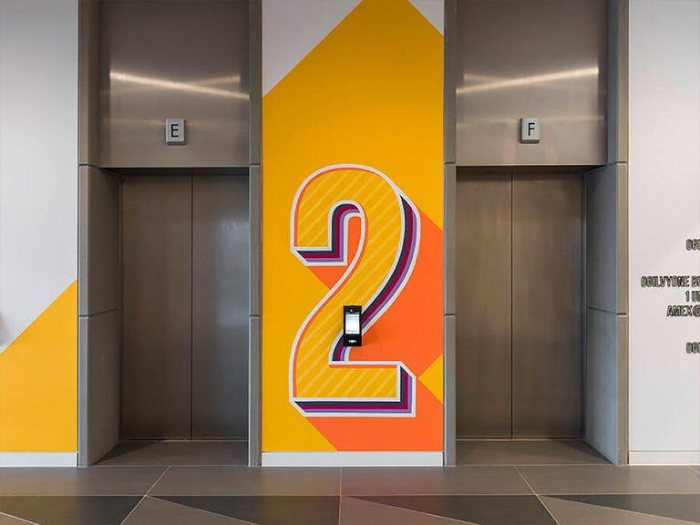 Acrylicize电梯厅楼层墙绘设计
