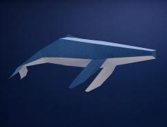鲸鱼和海豚为主题的纸艺术品创作