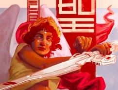 经典人物和未来元素融合:Fabrizia Tommasini插画