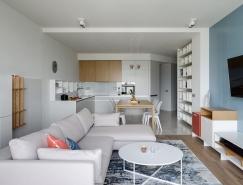 清新的蓝色:2个简约现代的时尚公寓设计