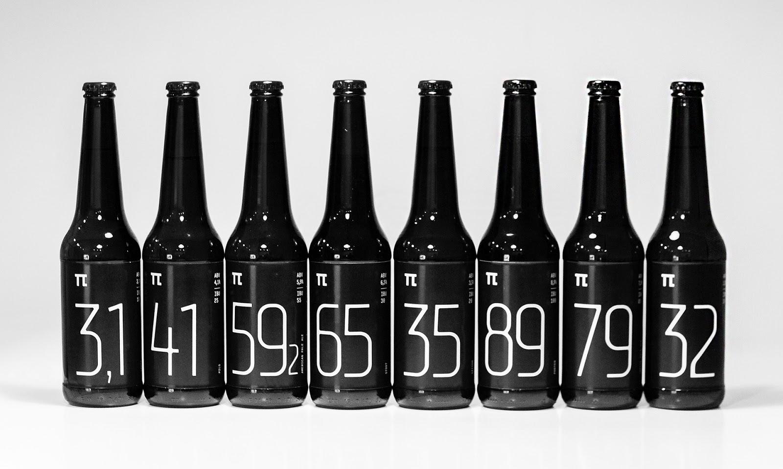 纯黑的π啤酒包装设计