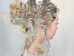 Cristian Blanxer图像叠加风格的肖像画作品