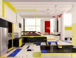 致敬蒙德里安几何抽象风格的灵感空间