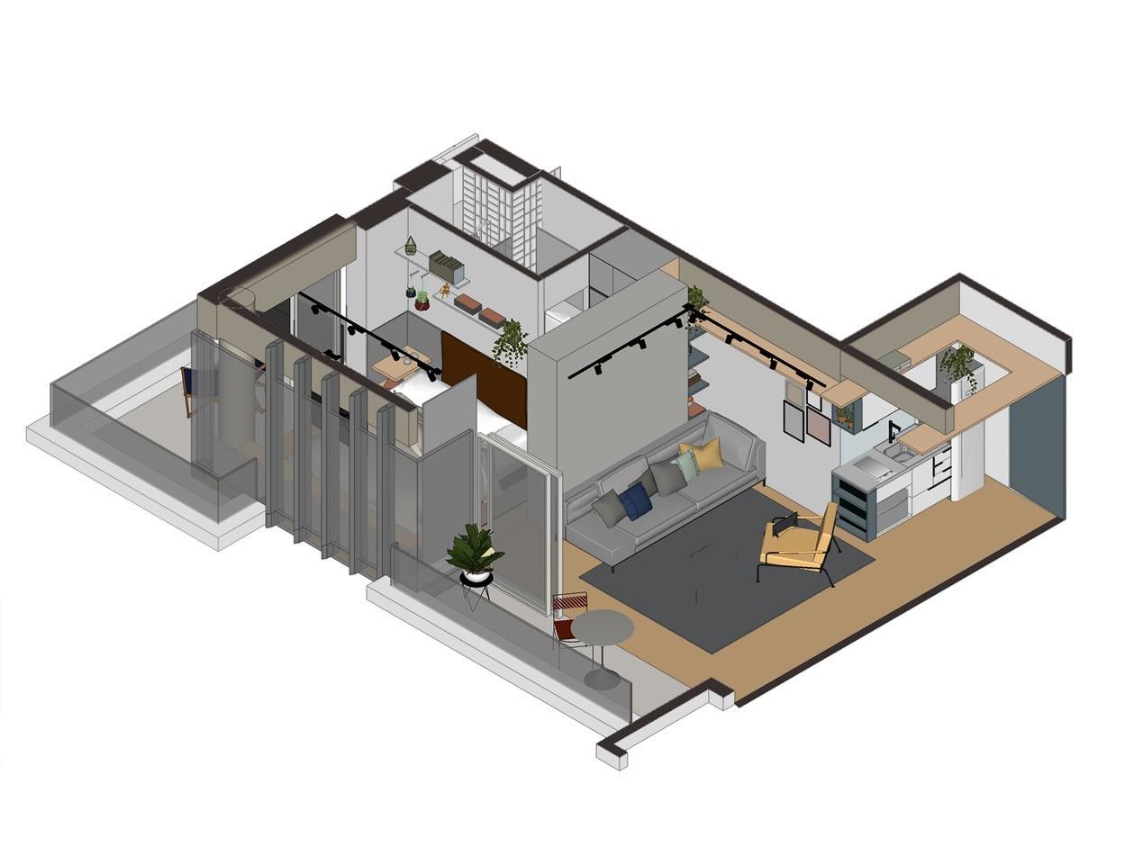 住宅空间,国外住宅设计,巴西,小宅概念,轻工业风