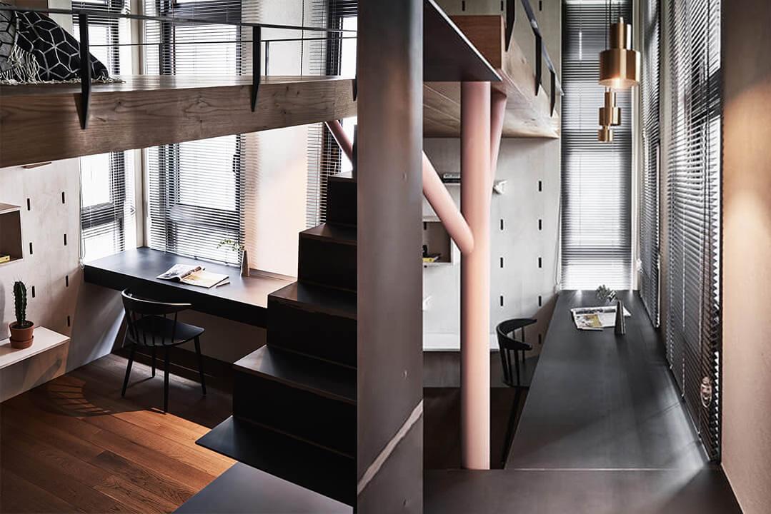 台北40平工业风阁楼公寓设计