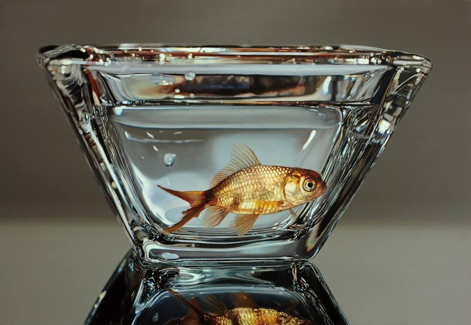 杯中的鱼:Young Sung Kim逼真的超写实风格绘画作品