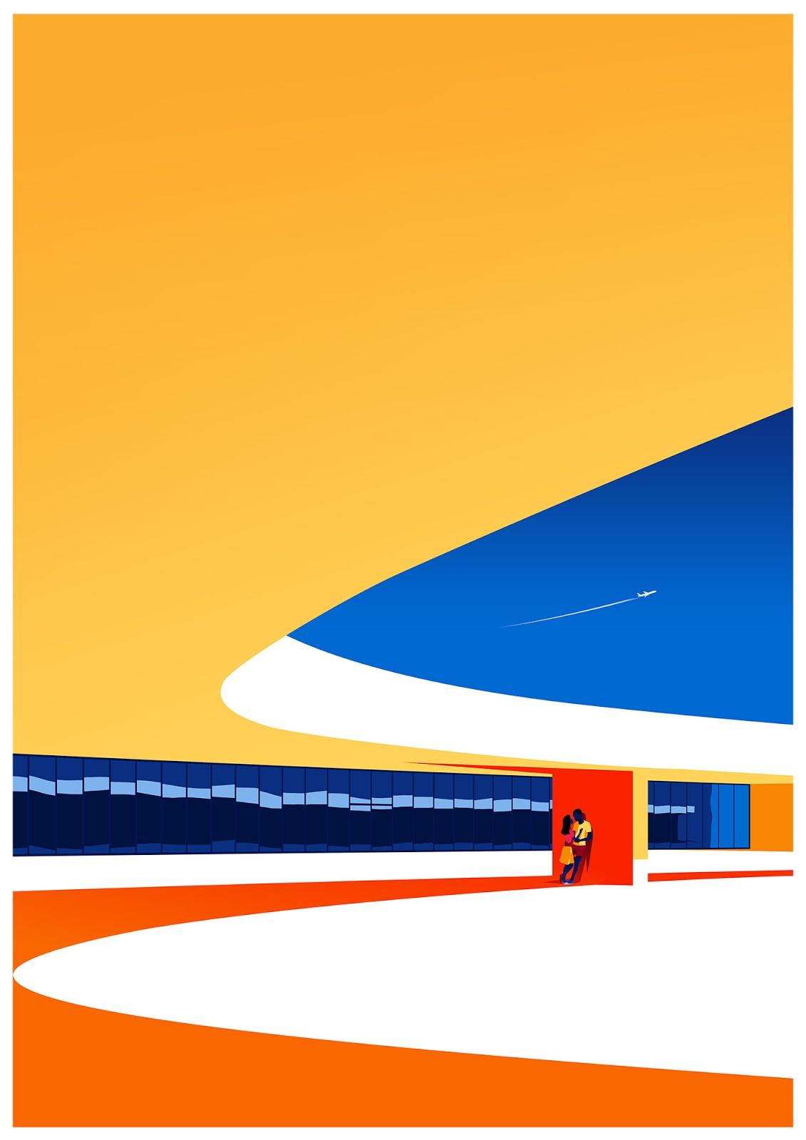 Levente Szabo纪念建筑师Oscar Niemeyer的插画作品
