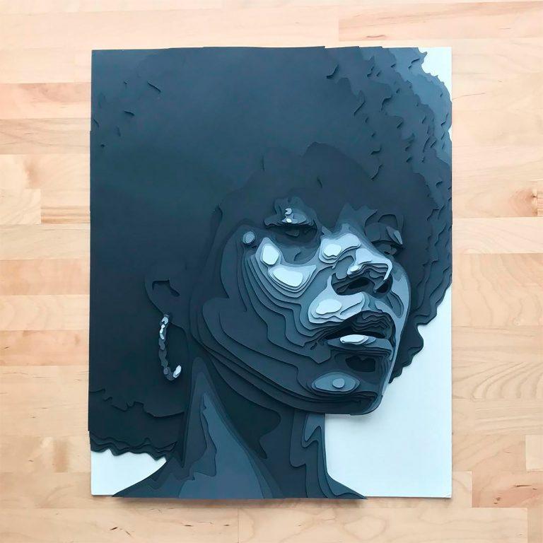 Shelley Castillo纸张堆叠的人物肖像艺术作品