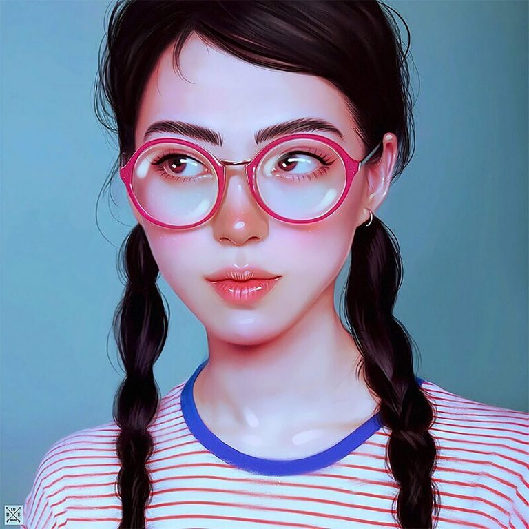 Julia Razumova富有表现力的女性肖像插画