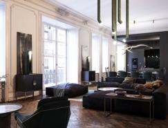 经典设计元素与现代家具结合:法国鲁昂黑白公