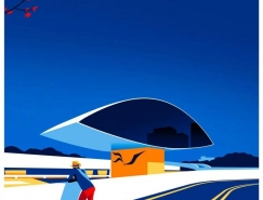 Levente Szabó以建筑师Oscar Niemeyer的作品为灵感的插画作品