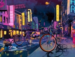 Shan Jiang混合媒体艺术插画作品