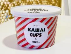 日式风格的Kawai Cups冻酸奶包装设计