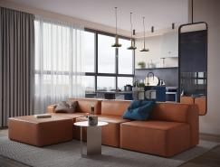 橙和蓝配色的现代家居装修