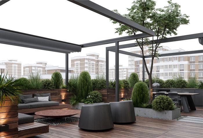 拥有楼顶花园的现代豪宅设计